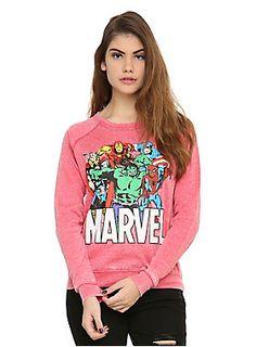 <p>Red heather pullover crewneck sweatshirt from Marvel with colorful heroes design featuring Iron Man, Thor, Spider-Man, Hulk and Captain America.</p>  <ul> <li>60% cotton; 40% polyester</li> <li>Wash cold; dry low</li> <li>Imported</li> <li>Listed in junior sizes</li> </ul>