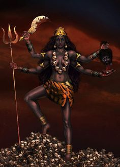 Kali, or the dark goddess, is the fearful and ferocious form of the mother goddess Durga. Description from neogaf.com. I searched for this on bing.com/images