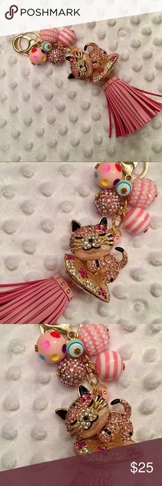 NEW! Enamel & Sparkly PINK Cat & Tassel Keychain! 🌸 Sparkly PINK Enamel & Rhinestone Cute Sleeping Cat, with Handmade Pink Accent Charms! Keychain/Bag Charm has Chubby PU Leather PINK Studded Tassel! Made with a Gold Tone Lobster Claw Clasp & Jump Ring. What you'll have is a custom, one-of-a-kind Purse Accessory, created by me! From non-smoking home. Accessories Key & Card Holders