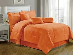 Chezmoi Collection 7-pieces Hotel Dobby Stripe Comforter Set, Full, Tangerine, http://www.amazon.com/dp/B00LMIYSAM/ref=cm_sw_r_pi_awdl_Arm7ub0RR5RSQ