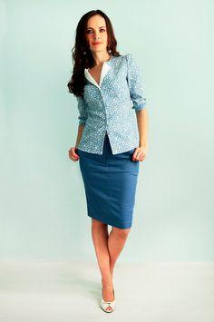 Blouse with 3/4 sleeves Blue floral shirt Denim skirt Summer