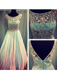 Amazing A line Tulle and Chiffon Crystal Round Neckline Modest Prom Dress