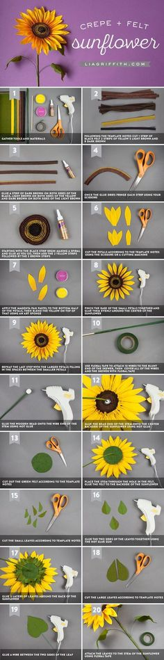 Our jumbo crepe paper sunflower is a showstopper! Featured in our Midwestern bouquet for Cricut. This paper project is sure to brighten your day! Paper Sunflowers, Tissue Paper Flowers, Felt Flowers, Diy Flowers, Fabric Flowers, Paper Roses, Kirigami, Origami Flowers Tutorial, Origami Instructions