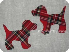 2x4in Red, Multi-Tartan, Cotton Fabric, Cut Out, Iron On, Applique Scottish Dogs £2.50 plus p&p.