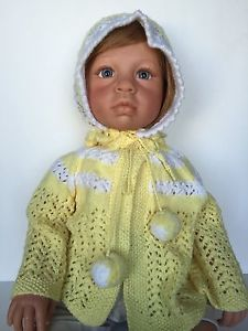 Handmade Vintage Style Baby Seater N Bonnet Hat in Yellow and White Pom Pom Ties | eBay