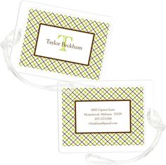Keylime Mad for Plaid Luggage Tags