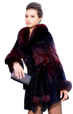 39748a819fa2 Queenshiny Long Women s 100% Real Rabbit Fur Coat Jacket with Fox Trim with  Fox Collar