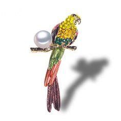 Beautiful Bird and Pearl BroochBird Jewelry