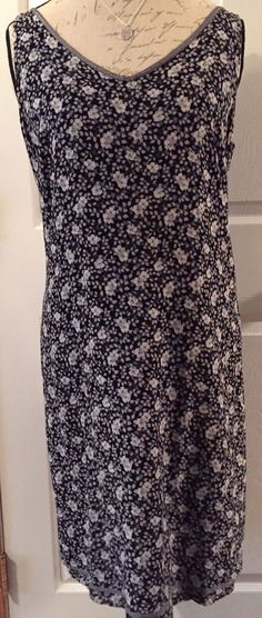 GAP Black Blue Gray Floral Shift Dress Sleeveless V Neck Size LG Career Casual #Gap #Shift #WeartoWorkCasual