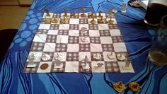 Homemade cloth and paper chess set
