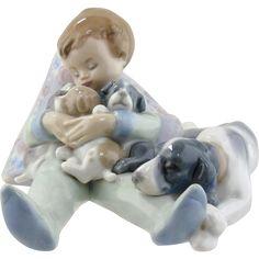 Lladro Figurine - Sleeping Child with Puppies & Mama Dog