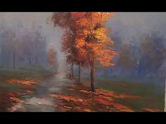 FOGGY AUTUMN PALETTE KNIFE Landscape Oil Painting On Canvas/Pintar paisaje de otoño com espátula - YouTube