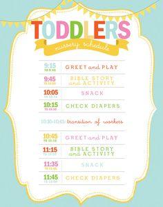 Printable nursery or classroom schedule - Daycare - Church Nursery - Preschool - Wall art - Customizable