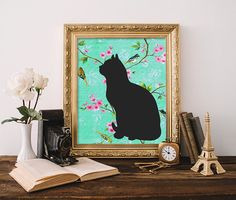 Cat Printable 8x10 Instant Download Cat Art by MossAndTwigPrints