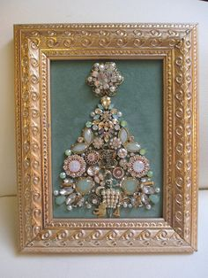 Jeweled Framed Jewelry Christmas Tree Pale Green Gold Art Deco