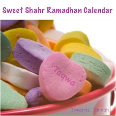 Ramadhan calendar - sweet treats with a message and activity eg: Kit Kat = take a break. Give your body a break and complete Ramadhan Fasting Body Chart