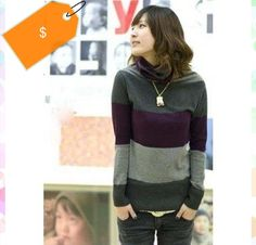 Fashion Color Block Long Sleeves Turtle Neck Sweater For Women