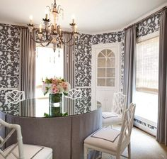 Marcus Design: Taking 'To The Trade' Out Of Wallcoverings Dining Room Skirted Dining Table Chippendale Chairs Chair Trim Tape Round Chandelier Wallpaper Chinoiserie Brown