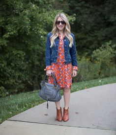 Fall Work Outfit Floral Dress and Booties