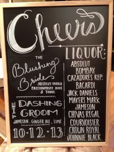 Chalk board wedding bar sign