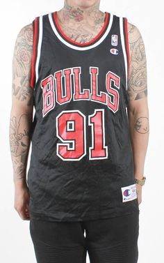 0030b9bc100 Vintage Chicago Bulls Dennis Rodman Champion Basketball Jersey Sz 44 – F As  In Frank Vintage