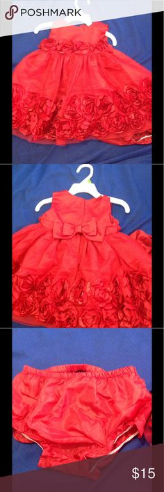 Beautiful baby girl red dress Holiday editions, size 6-9 months, flower details on dress, tulle, and matching undie, bow in the back Dresses Formal