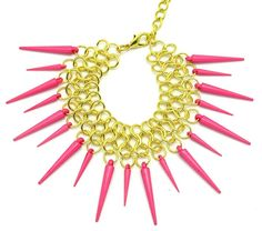 Pink Punk Rock Bracelet  Pink Spikes  Bright Summer by aquaskye, $25.00