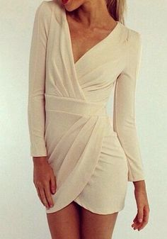 V-Neck Bodycon Dress White | Lookbook Store. Discover and shop the latest women fashion, celebrity, street style you love on www.zkkoo.com #bodycondresslongsleeve