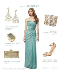 "Aquamarine Evening Gown  --  David Miester Strapless Metallic Chiffon Gown | 14K Gold  and Silver Two-Tone Fan Chandelier Earrings | Bamboo Two Tone Rhinestone Cuff from Lori's Shoes | Kerrington Sandals in Antique Gold by Badgley Mischka | Milly ""Kendra"" Minaudiere Clutch 