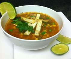 One bowl of soup is around 135 calories which makes a great healthy meal, not to mention it's VERY filling!  I hope you enjoy it!