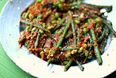 Green beans and soya beans in red sambal — #Food #Recipe via @deenakakaya