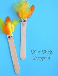Silly Stick Puppets with tongue depressors & feathers.  Oh, and, of course, googly eyes.  :)