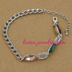 Unique colorful crystal beads decoration chain bracelet