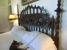 Bed of Earnest Hemmingway and his longest endured wife(wife #4), Mary Welsh, ... and yet another Hemmingway tabby