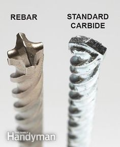 Some specially designed concrete drill bits can drill into concrete with embedded rebar. Get the Drilling Into Concrete Tools guide: http://www.familyhandyman.com/tools/drills/drilling-into-concrete-tools-rotary-hammers-and-hammer-drills/view-all