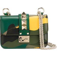 Valentino Garavani Glam Lock Shoulder Bag ($2,095) ❤ liked on Polyvore featuring bags, handbags, shoulder bags, green, green leather handbag, green leather shoulder bag, camouflage purse, green purse and chain shoulder bag