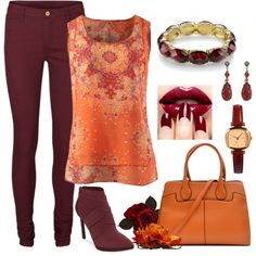 A fashion look from February 2015 featuring red pants, jessica simpson boots and jade bangle. Browse and shop related looks.