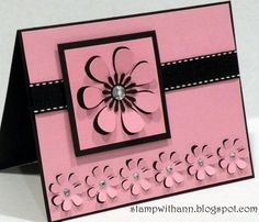 handmade greeting card ... Stamp With Ann: 3D Flowers Card ... pink with black mat, ribbon and accents ... SCAL software and SVGcuts.com cutting file ... luv the dimension of partially cut flowers with raised petals ... good design ... pretty card ...
