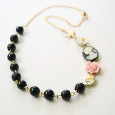 Black Cameo Necklace- 14K Gold Filled chain. $52.00, via Etsy.