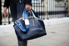 Bag Stalking! The 44 Carryalls That Rock Our World #refinery29  http://www.refinery29.com/58437#slide4  How great are the different shades of blue on this Chloé tote?