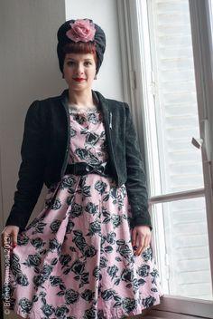 matching turban and vintage dress
