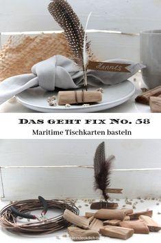 Das geht fix No. 58 - Tischkarten aus Treibholz und Federn - Tischlein deck dich Blog, Wedding, Decorating Cups, Creative Ideas, Decorating Ideas, Shells And Sand, Drift Wood, Feathers, Valentines Day Weddings