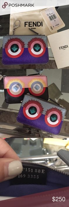 Fendi monster pouch Small fendi monster key pouch. Equipped with lobster claw clip to use as a keychain on purse or to clip on jeans when going out. Cute and functional  authentic piece. Includes dust bag and info cards. Fendi Bags Wallets