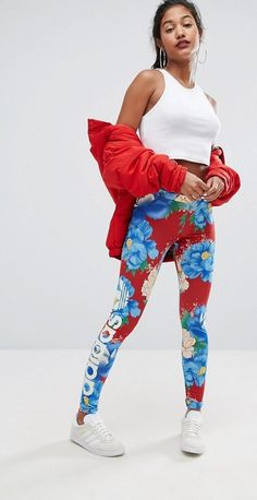 Leggings by Adidas, Smooth stretch fabric, Mid-rise waist, Elasticated waistband, Printed floral design, Close-cut body-conscious fit