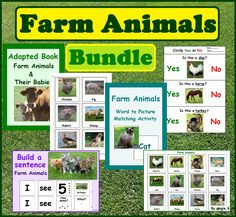 Farm Animals  and their babies Vocabulary Photo flashcards, Printable pictures for toddlers, preschool, kindergarten and ESL students. There are lots of interactive activities, games and worksheets to use with your kids. #farmanimals For more resources follow https://www.pinterest.com/angelajuvic/autism-special-education-resources-angie-s-tpt-sto/