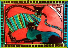 Cat Art Series featuring Legend of the Siamese by Dora Hathazi Mendes. For Cat Lovers