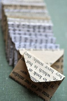 Small envelopes from book pages // set of 10 // love notes // blank cards // ephemera // crafting paper // various books // decoration - Geschenkideen - Best wedding details Old Book Crafts, Book Page Crafts, Newspaper Crafts, Newspaper Dress, Small Envelopes, Book Folding, Handmade Books, Love Notes, Book Making