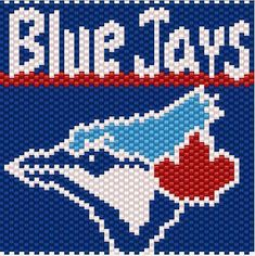 Name: 'Other : Toronto Blue Jays Lighter Cover Pattern Peyote Patterns, Bead Patterns, Knitting Charts, Knitting Patterns Free, Saskatchewan Roughriders, Picture Banner, Lighter Case, Beaded Banners, Beadwork Designs