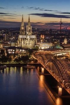 Cologne, Germany at Dusk.