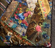 Crazy Embellishment Quilting Silk Ribbon Embroidery | ... quilting . . . Crazy Quilted Purse Detail- Close up of silk ribbon